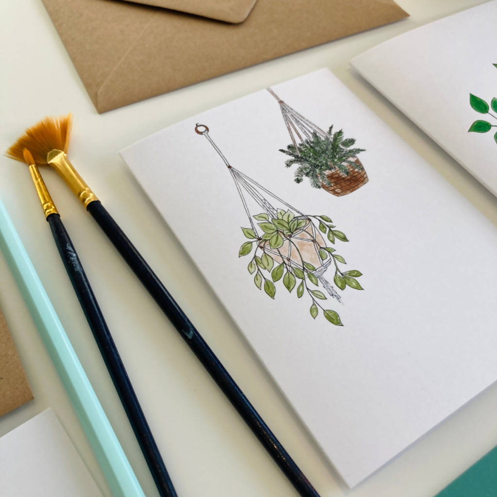 Houseplant Notecard Pack - 10 Illustrated Notecards and Brown Recycled Envelopes