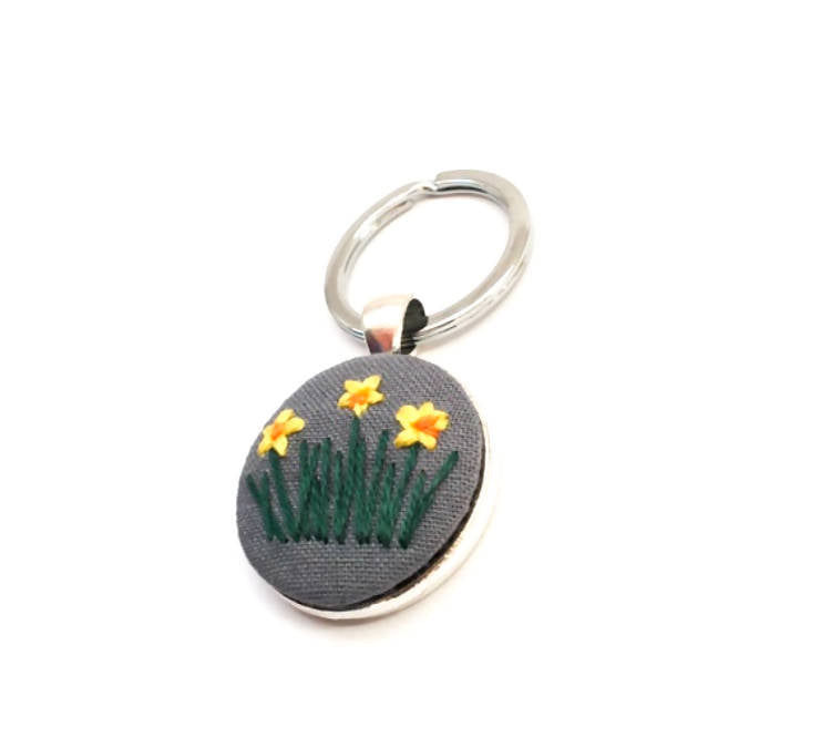 Embroidered Daffodil Keyring