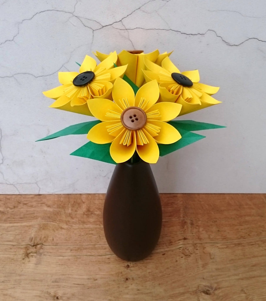 bouquet of origami sunflowers