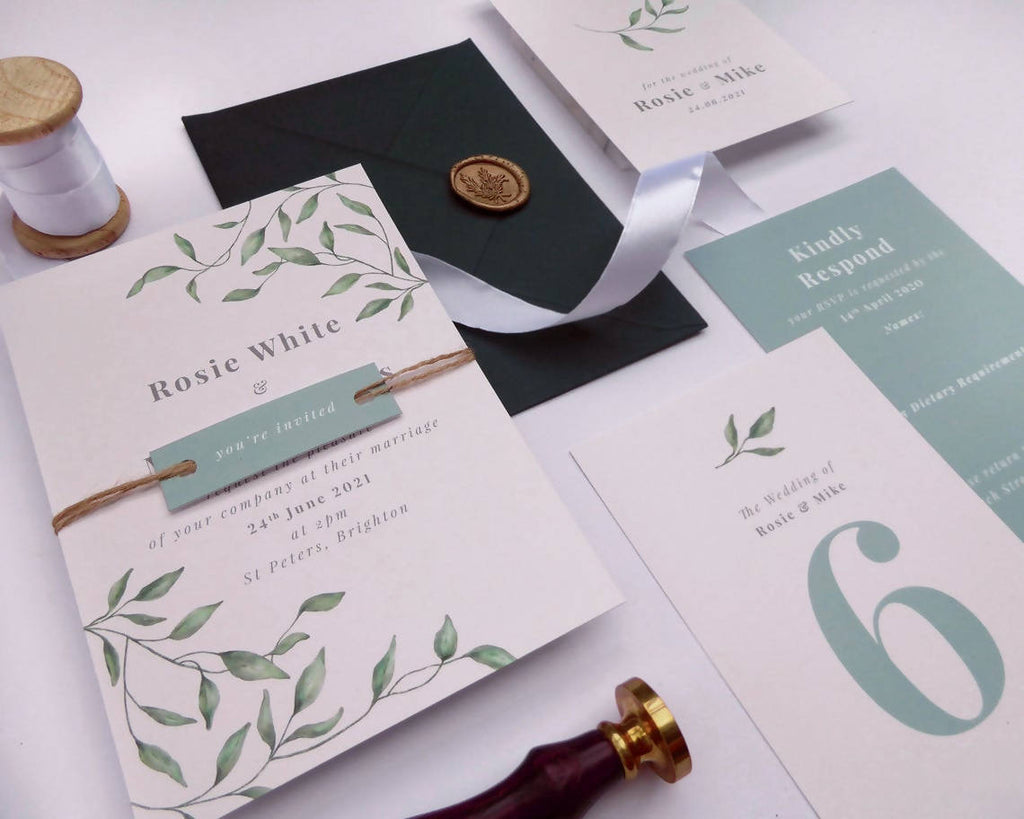 Delicate Foliage Green Wedding Invitations // Sample Pack // Spring Wedding // Farm Wedding // Any Colour Wedding Invitations