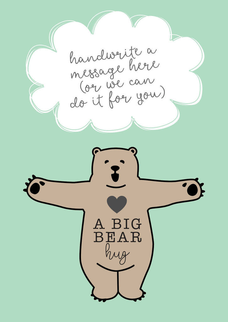 Little Pocket Hug Token - Sending You A Big Bear Hug Wooden Plaque with Poem on Card