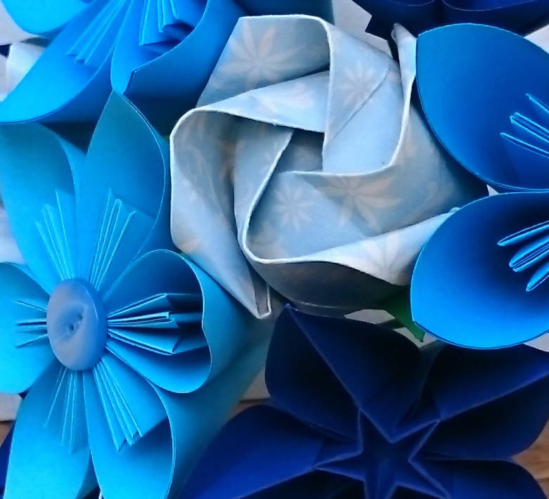 blue origami flowers close up