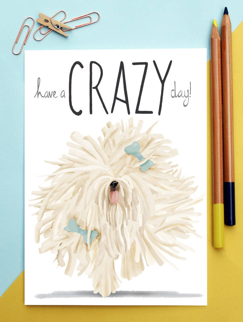 Crazy Dog Birthday Card - Komondor - Funny