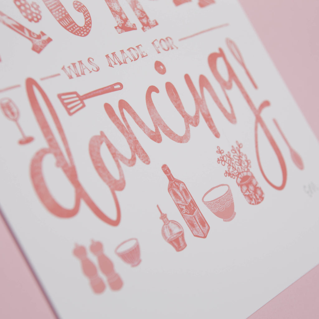This Kitchen was made for Dancing, Illustrated Typography Wall Art Print in Pink