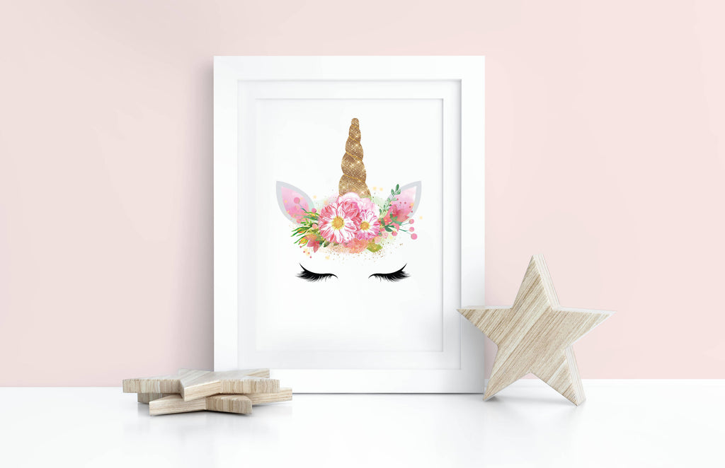 Floral Unicorn Wall Art Print