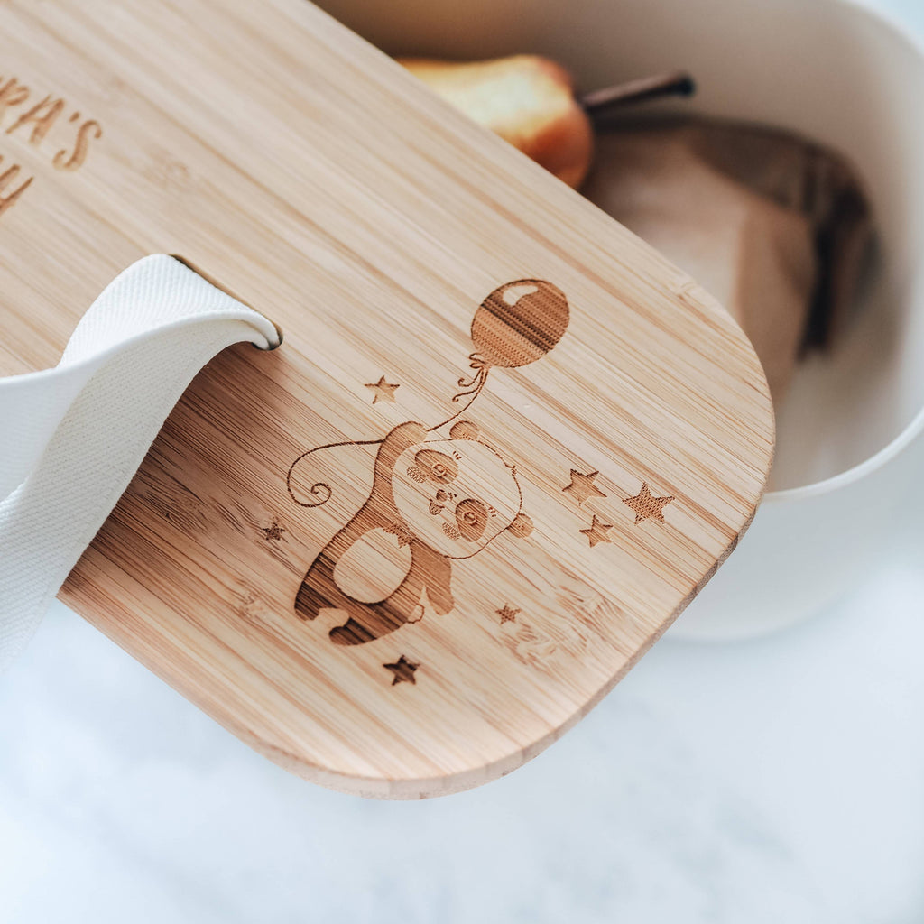 Eco Bamboo Lunch Box with Panda, Balloon & Stars Design