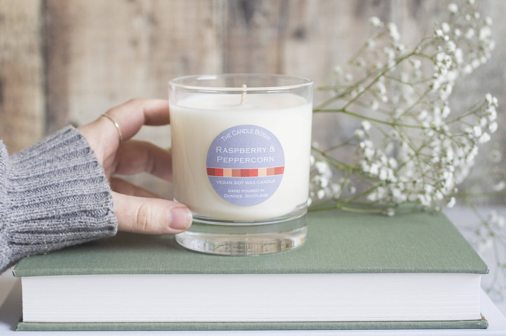 Raspberry & Peppercorn soy wax candle