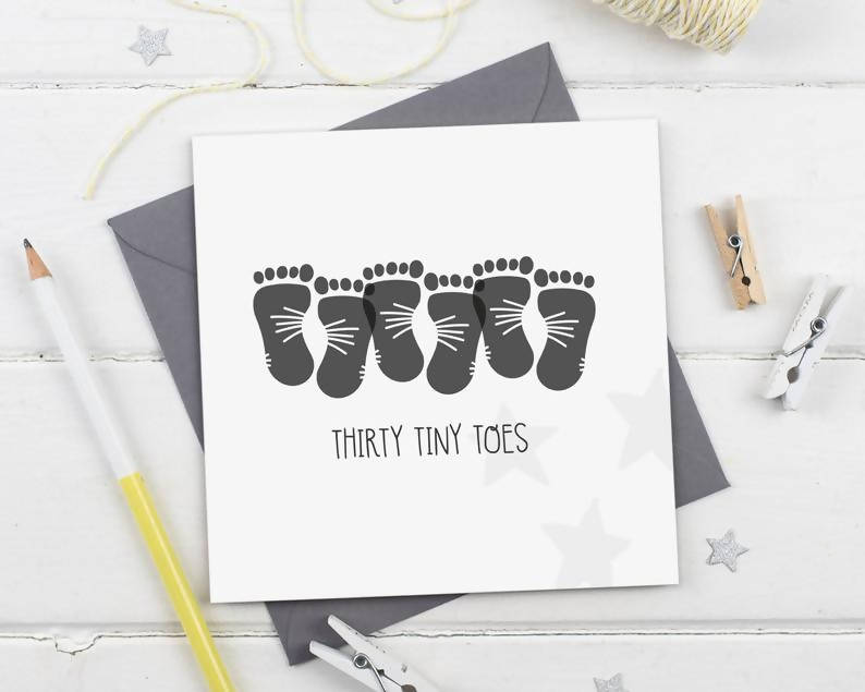 Thirty Tiny Toes - New Baby Triplets Footprints Greeting Card