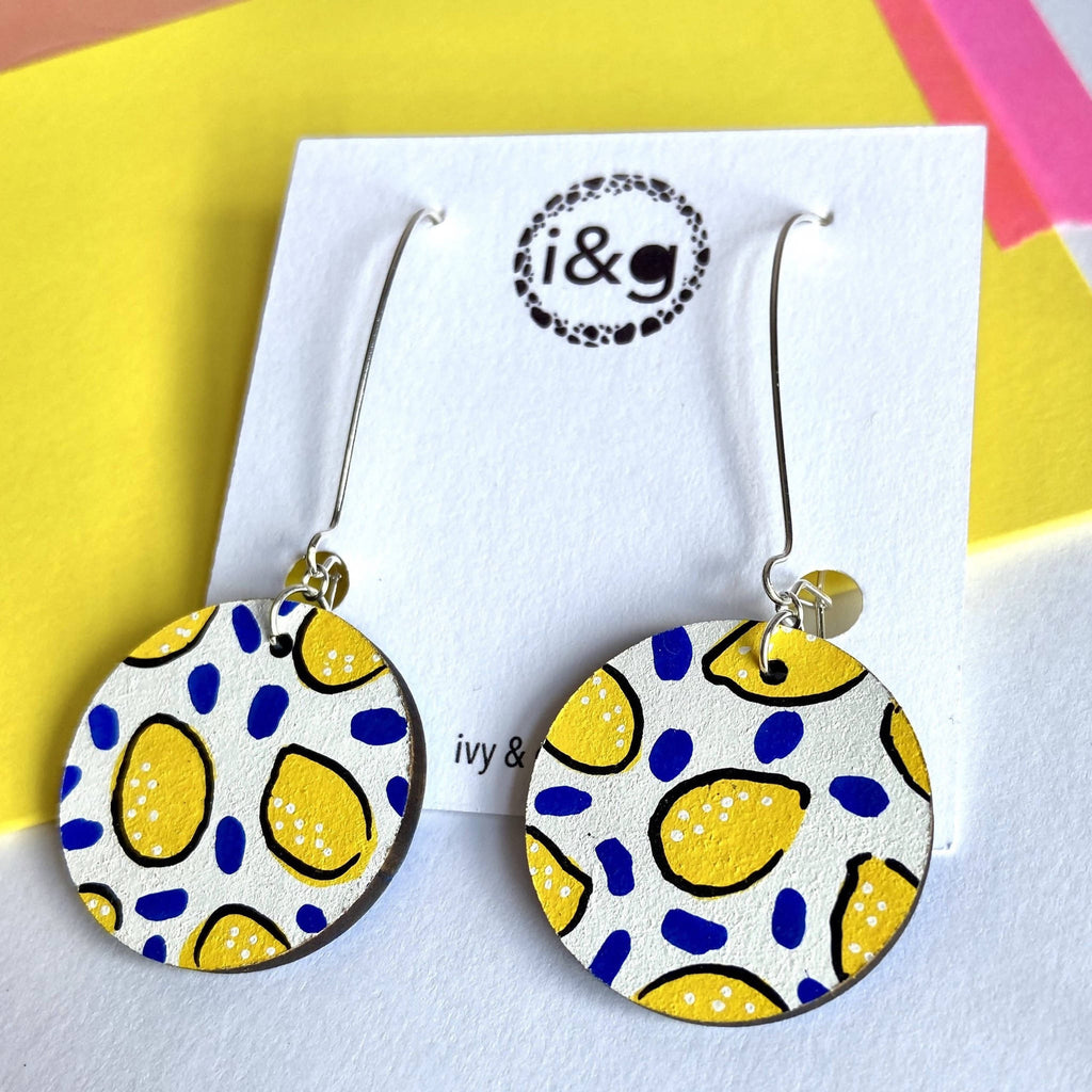 White Lemon Fruit Dangle Wooden Earrings