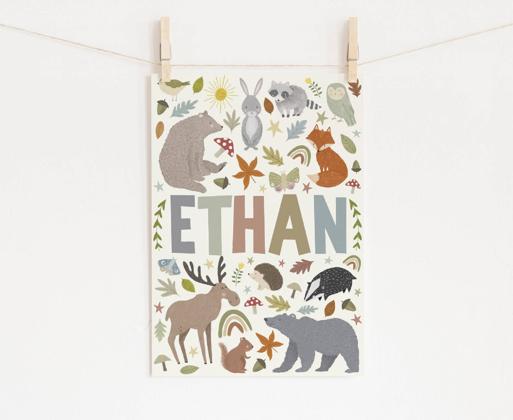 Woodland Animal Personalised Name Print