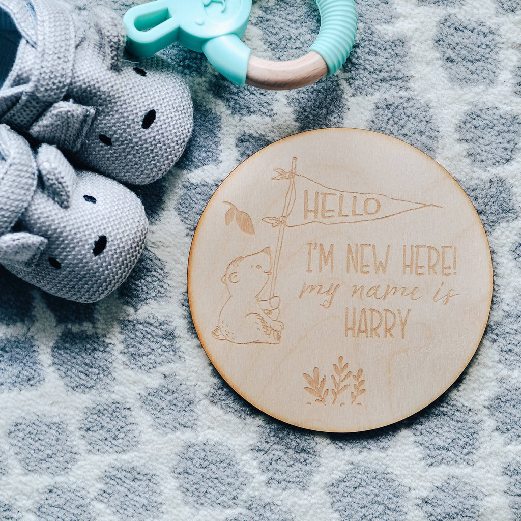 Bear Birth Announcement Wooden Keepsake Sign 'Hello I'm New Here'