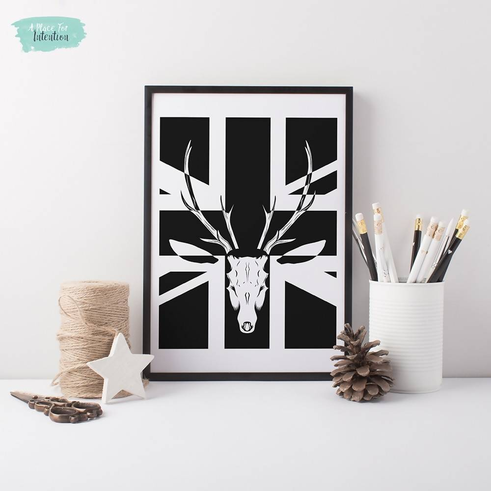 Black and White Union Jack Stag Illustration Art Print