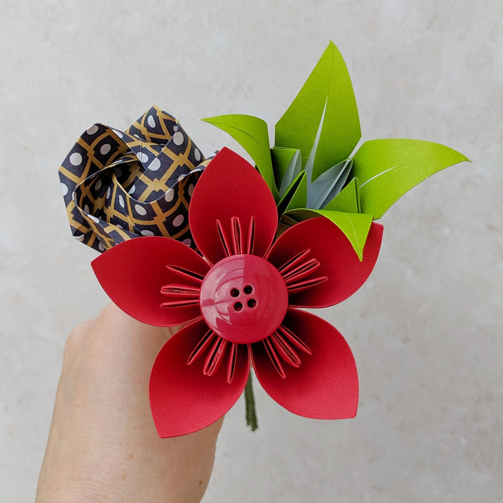 Red origami mini bouquet, thank you gift for teacher