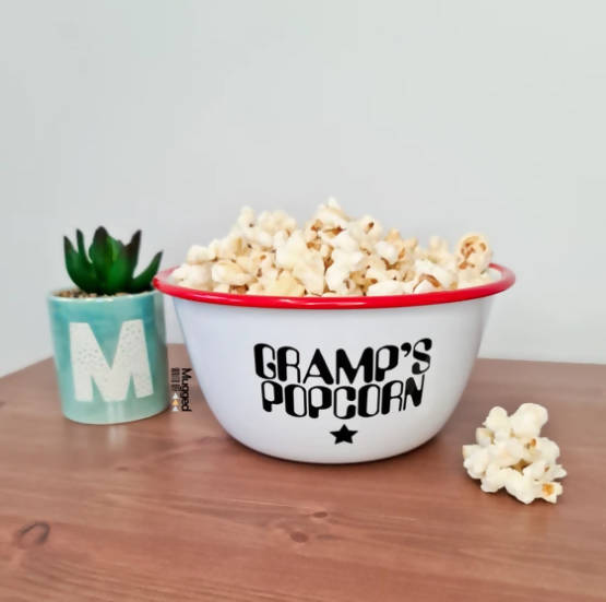 PERSONALISED POPCORN BOWL RED ENAMEL - SMALL