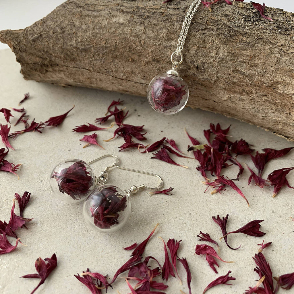Real Burgundy Cornflowers Earrings with Sterling Silver Short Drops