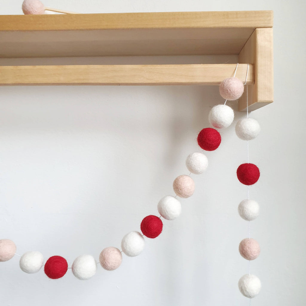 Red and Blush Pom Pom Garland