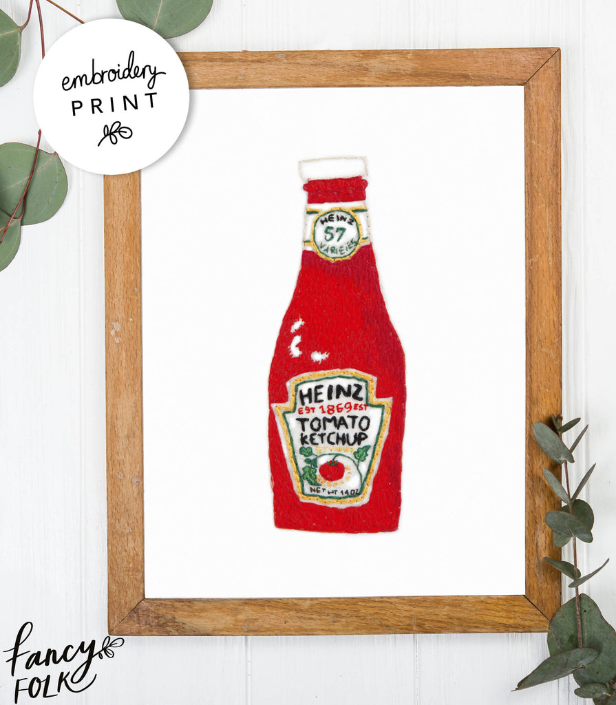 Ketchup Embroidery Print