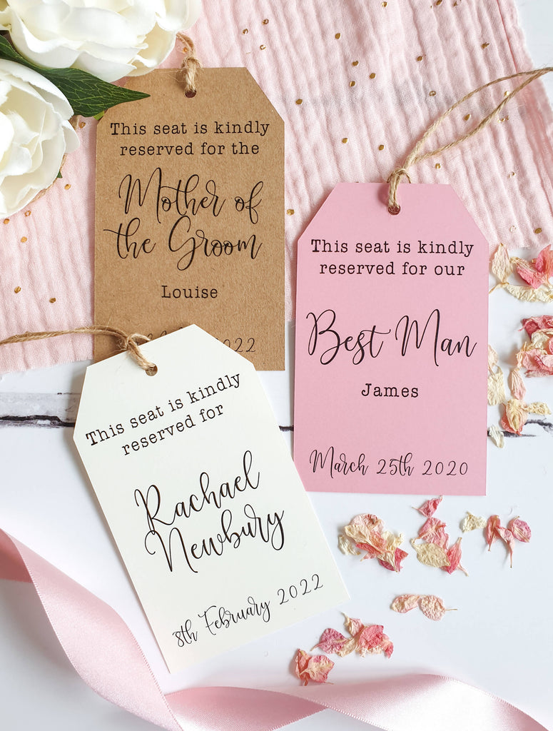 Wedding Reserved Seat Tags in Cream, Kraft or Rose Pink with Rustic Twine Ties