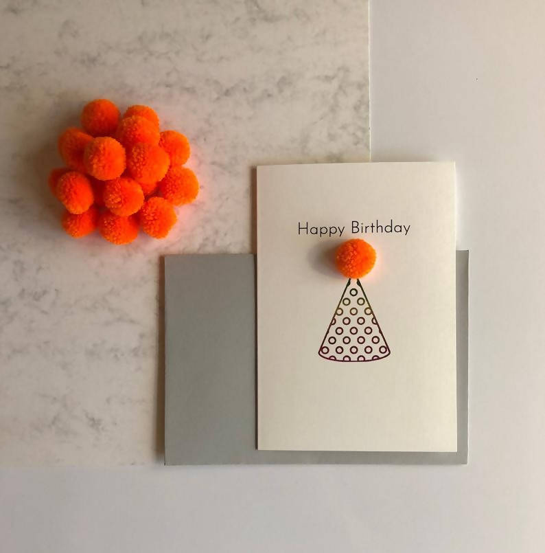 Pom Pom Birthday Hat Birthday Card