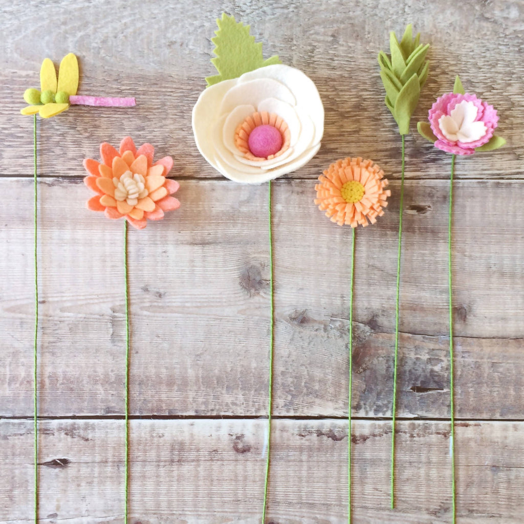DIY felt flower craft kit: Peaches and Cream Dragonfly Bouquet