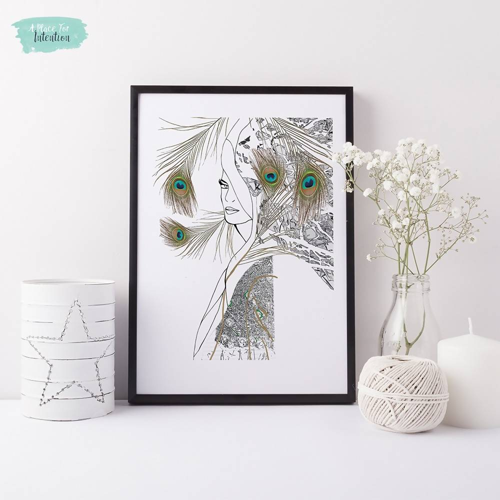 Peacock Woman Illustration Art Print