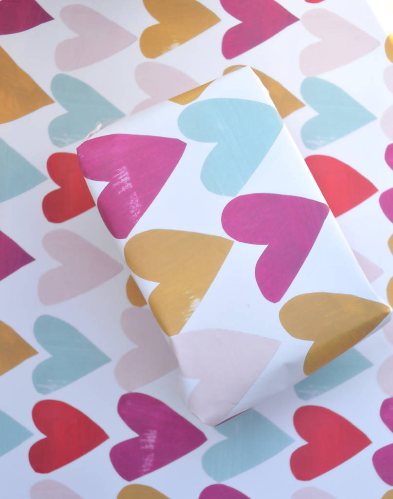 Dolly Pepper Studio, Hearts Giftwrap, Collaged Hearts, Gifts for Her