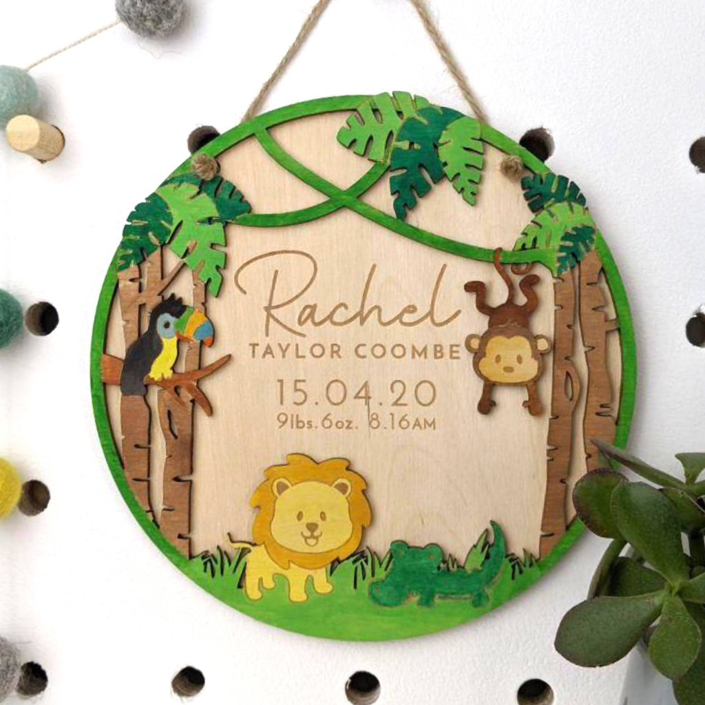 Jungle Birth detail wooden engraved wall hanging plaque