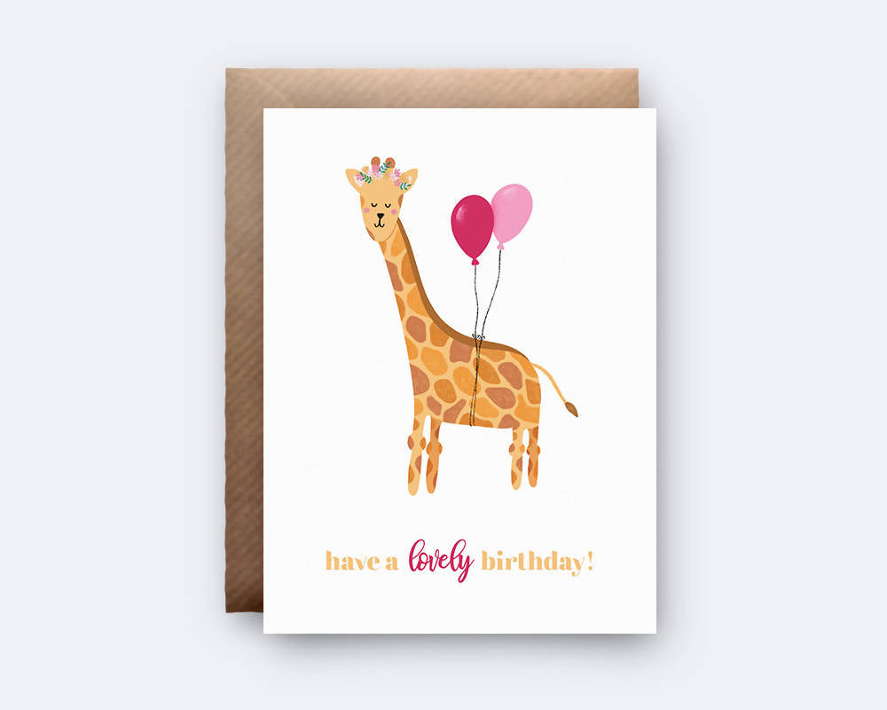 'Have a Lovely Birthday' Giraffe Greeting Card
