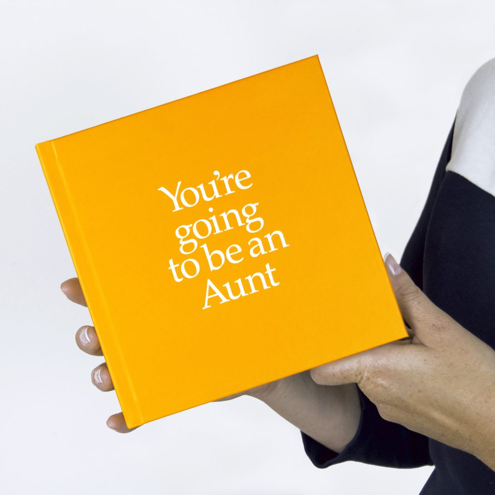 Aunt-To-Be Gift Book With Socks For Adult & newborn & Personalised Card. FREE SHIPPING