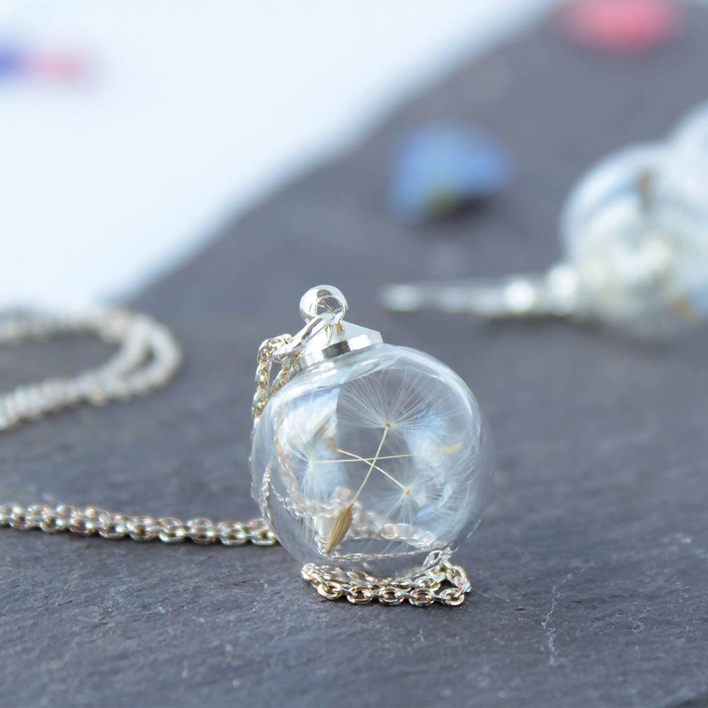British Botanical Glass Dandelion Mini Necklace