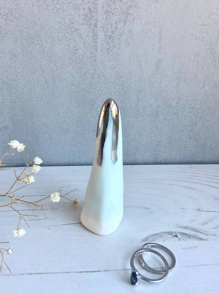 Pale turquoise Ring Cone in Porcelain with Platinum Detail Drips / Ring Holder / Jewellery Storage