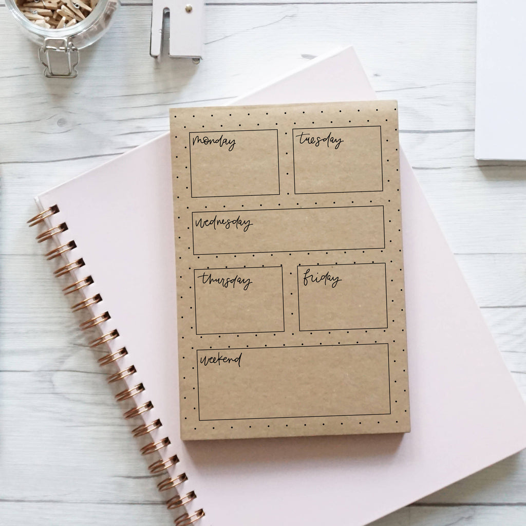 This Week, handcrafted notepad