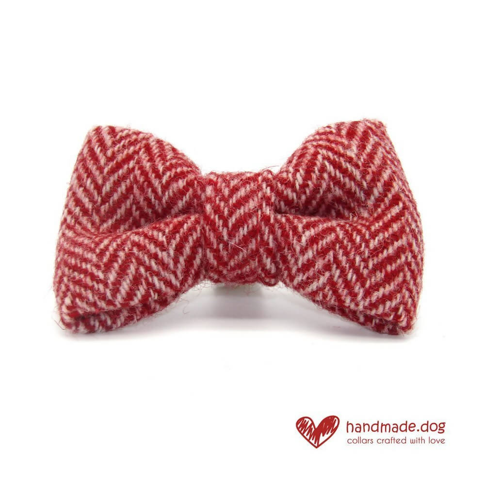 Red and White Herringbone 'Harris Tweed' Dog Bow Tie