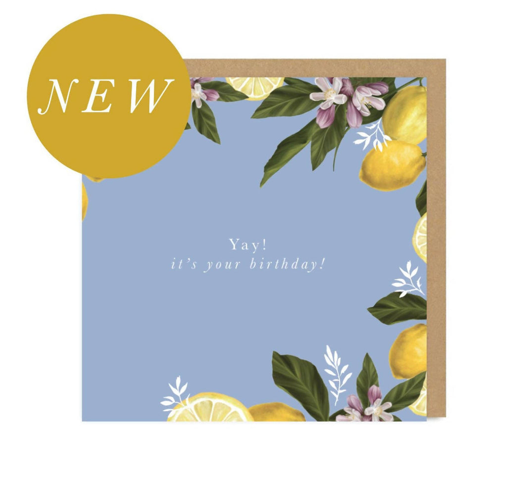 Happy Birthday | Bday | Lemons | Gold | Metallic |Card for Teacher | Gifts | Greetings Card | Hand Finished | Amy Olivia Harris Designs