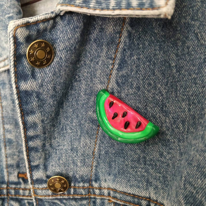 Tropical Watermelon Fruit Slice Polymer Clay Pin Badge