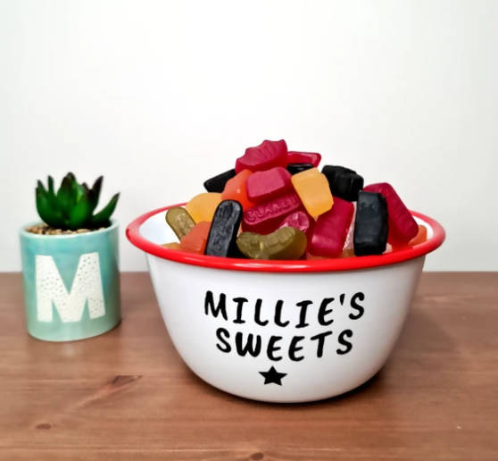 PERSONALISED SWEETS RED ENAMEL BOWL - SMALL
