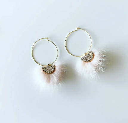 Powder Pink Pom Pom Earrings