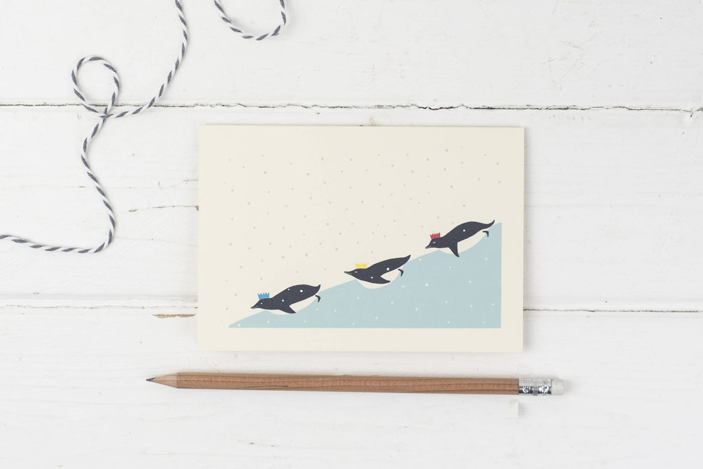 Penguins on ice- Christmas card