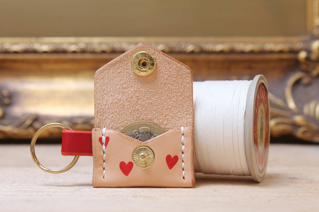 Tiny leather purse keyring - love
