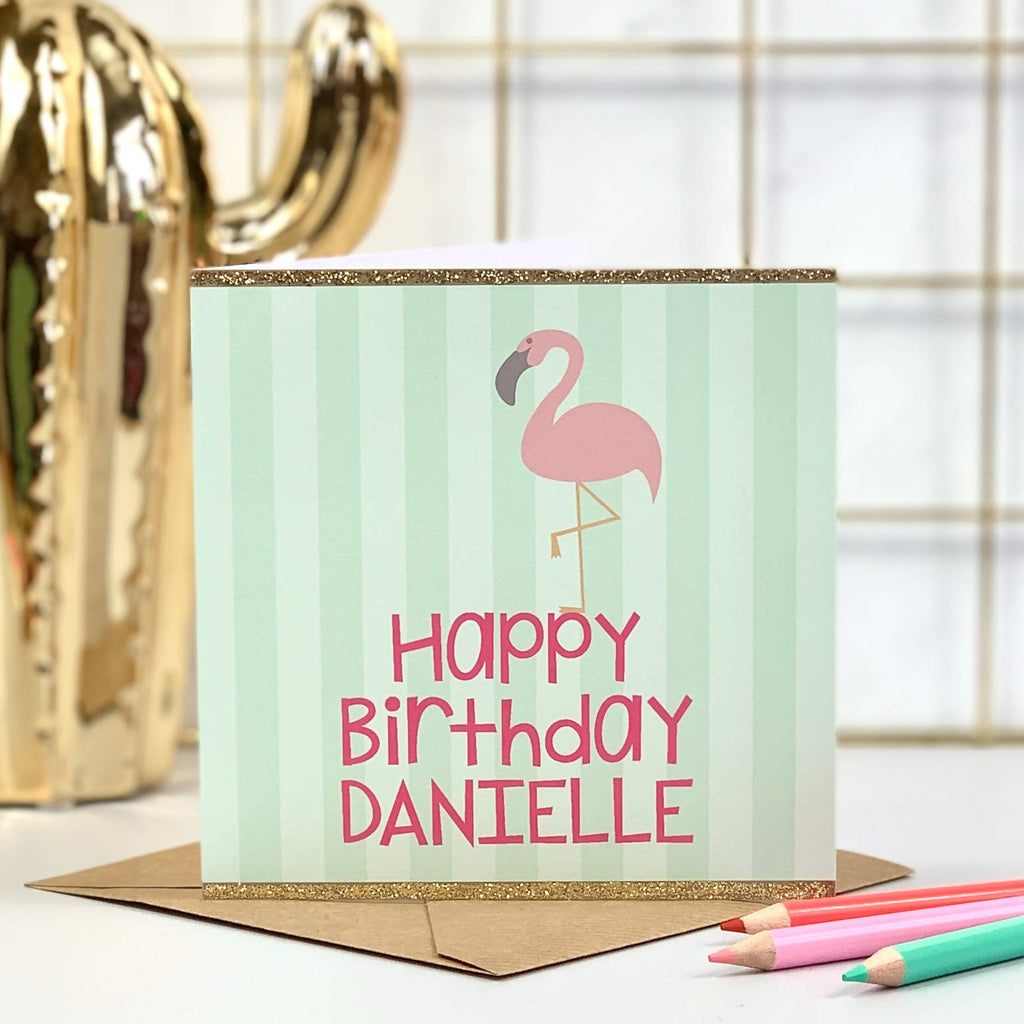 Green Striped Flamingo Birthday Card - PERSONALISE ME!