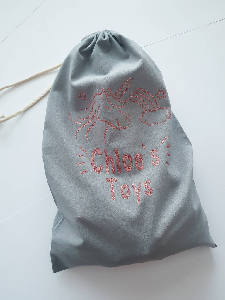 Personalised Unicorn Toy Storage Bags