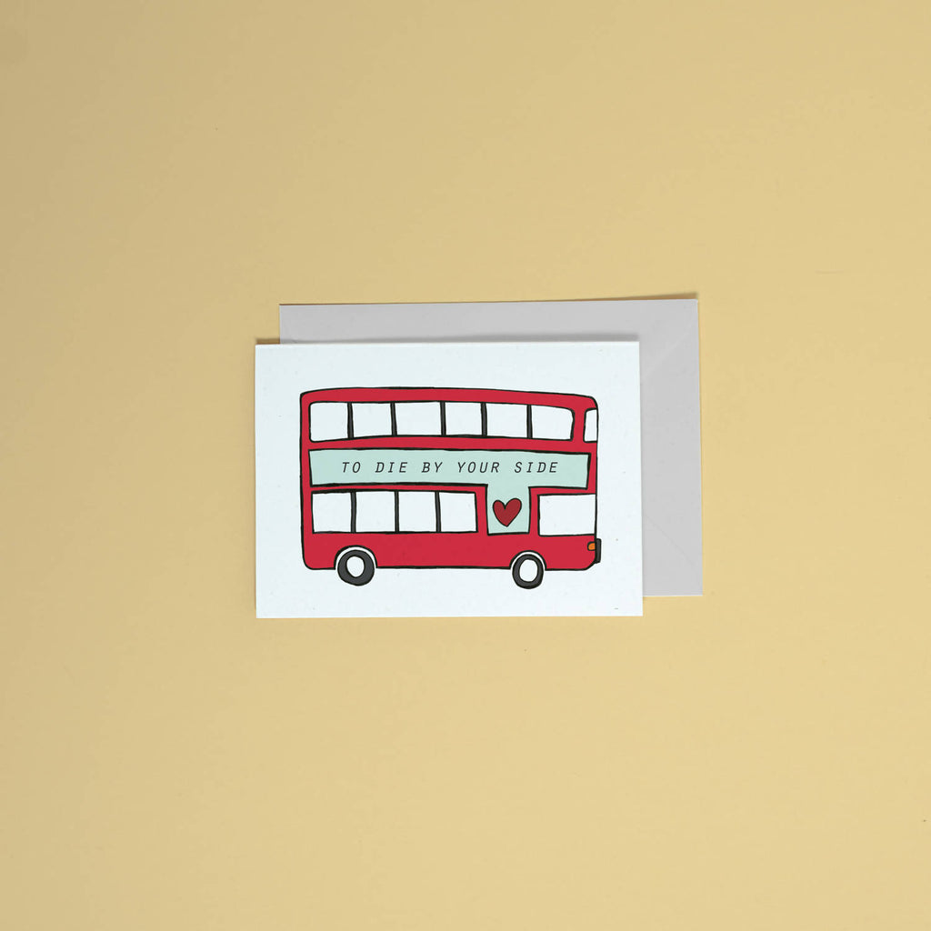 Valentines day greetings card // the smiths // song lyrics stationery // wedding card // love // to die by your side // stationery // bus