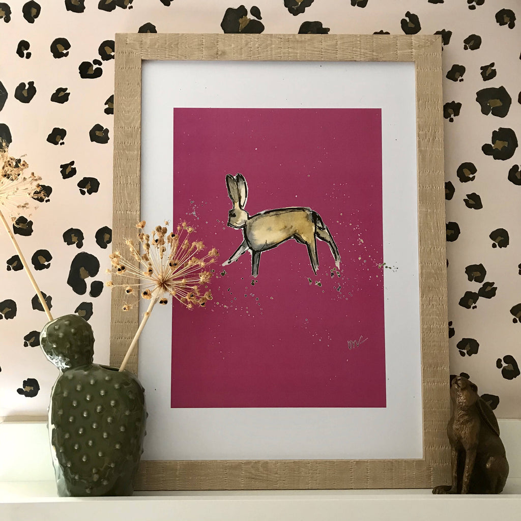 Pink abstract hare giclee print