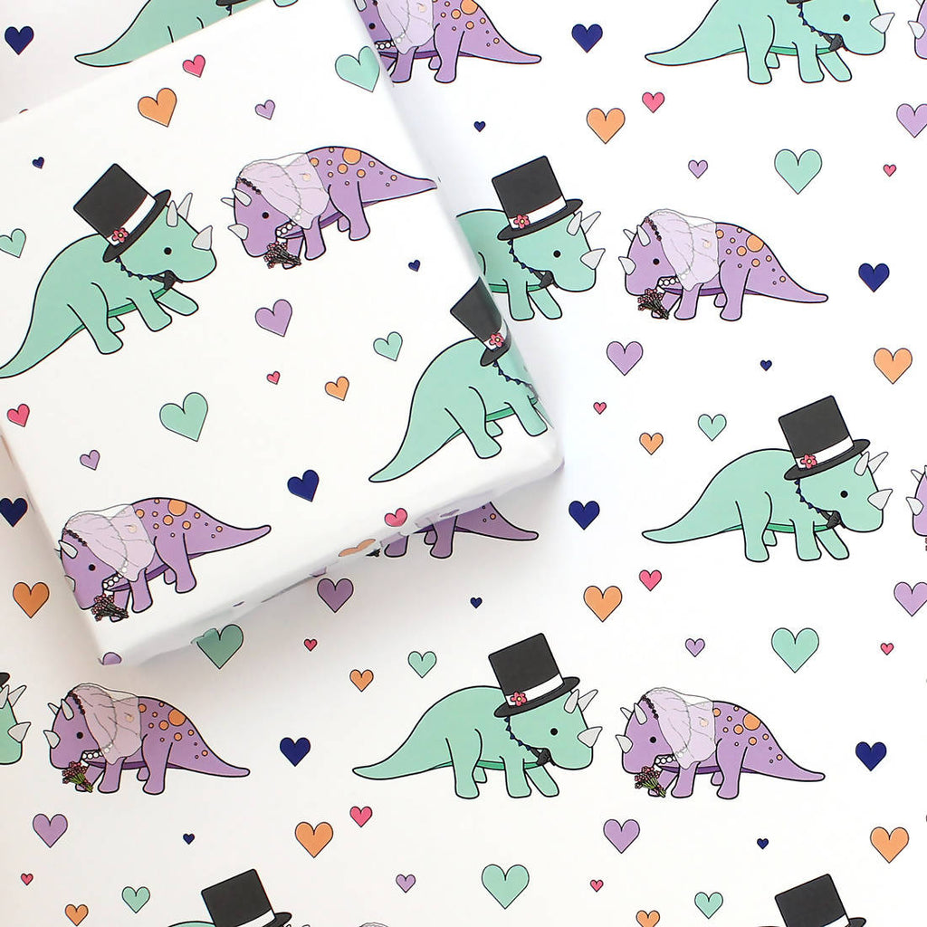 Dinosaur wedding wrapping paper