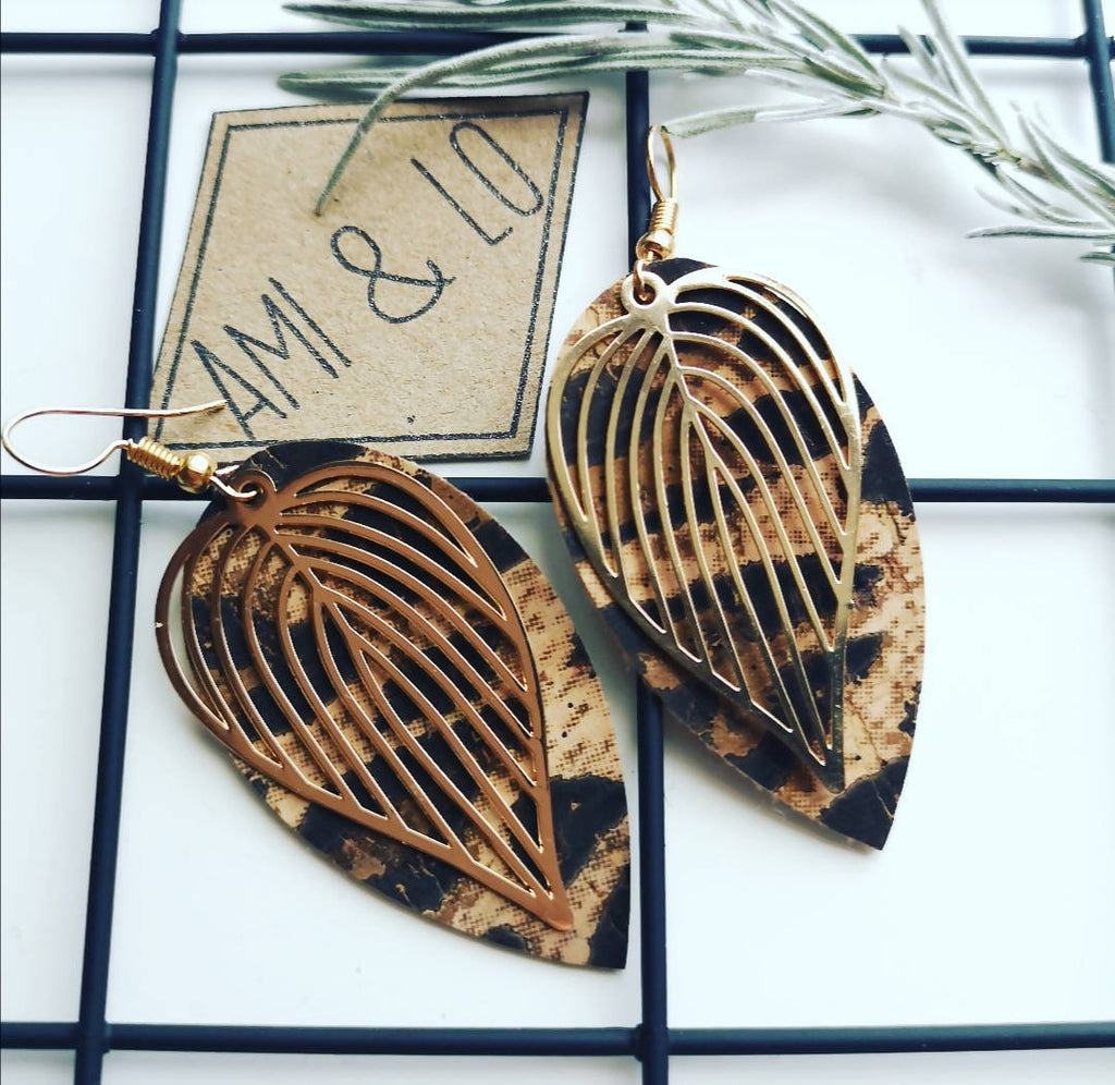 Leopard print Cork leather Leaf design statement earrings, Ami and Lo, Andsotoshop