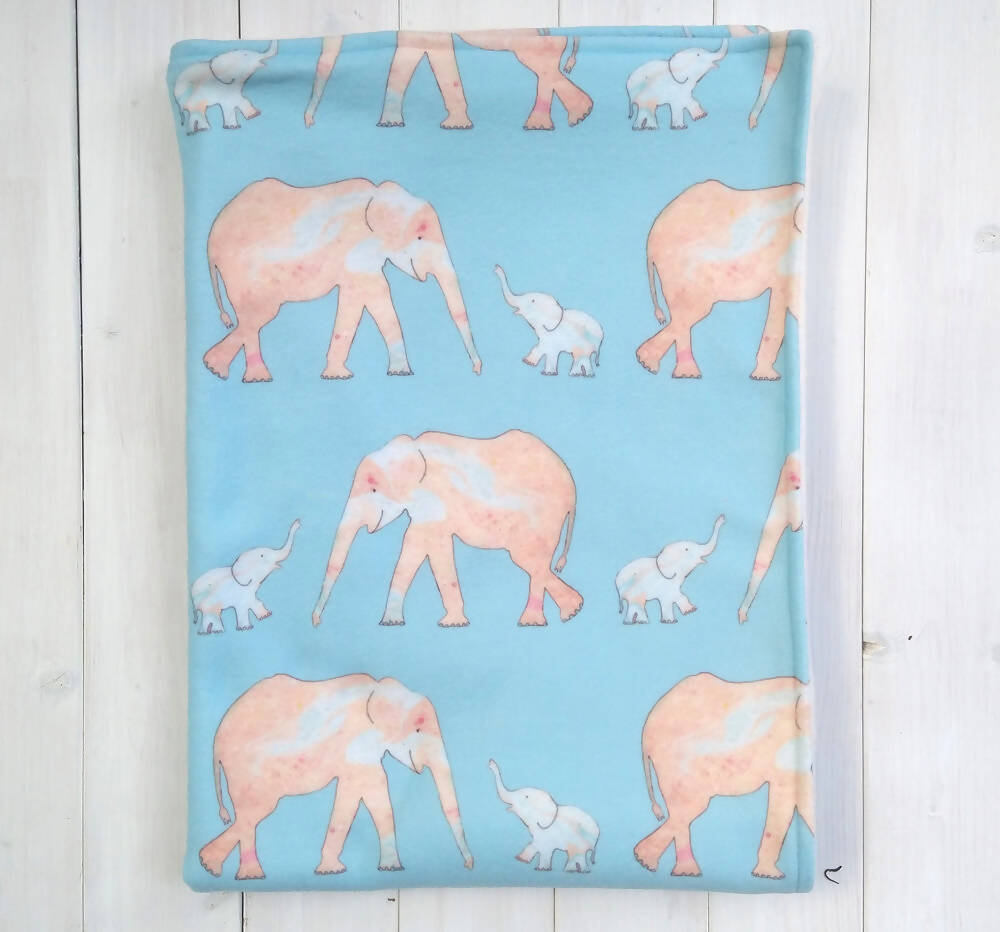 Elephant and Baby Fleece Blanket