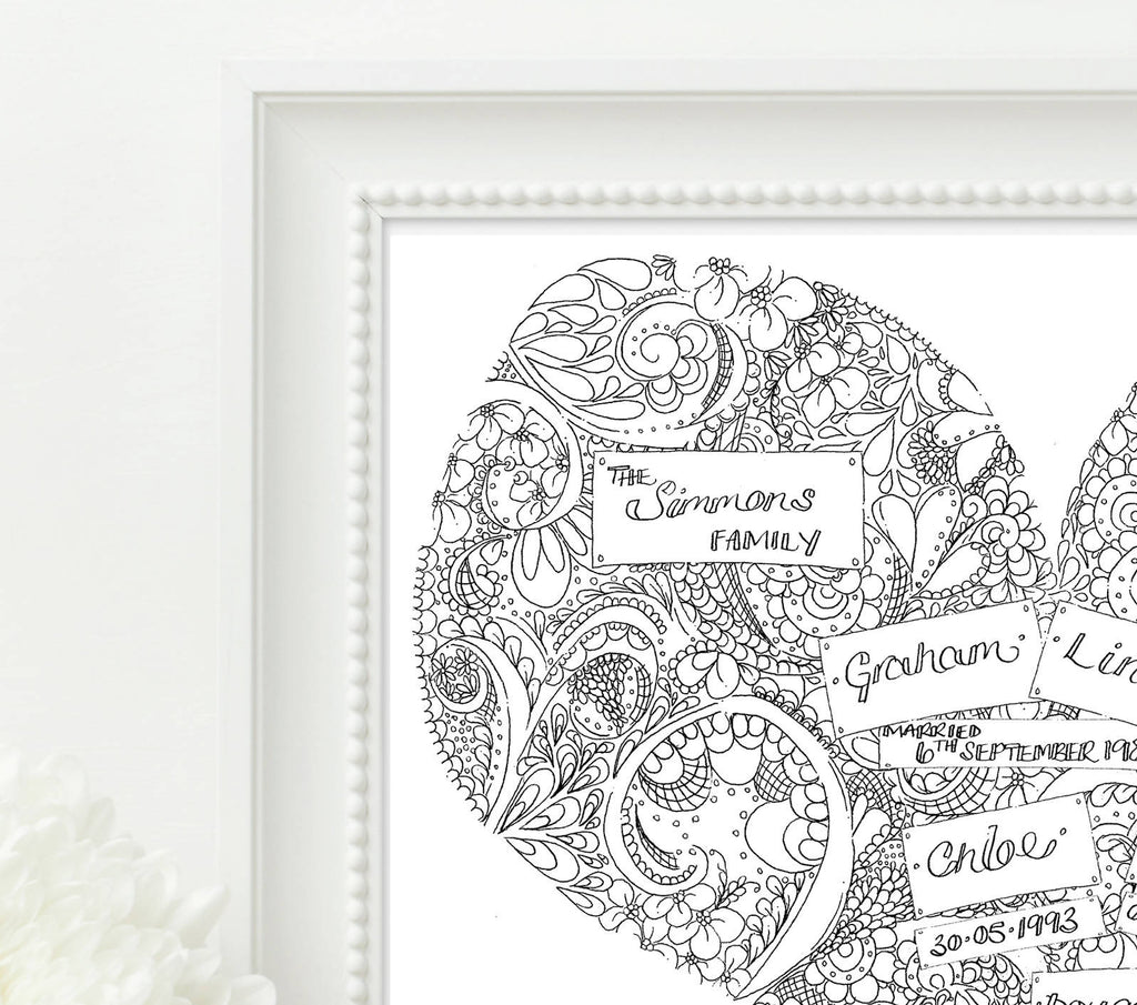 Personalised Black and White Family Doodle Heart Print