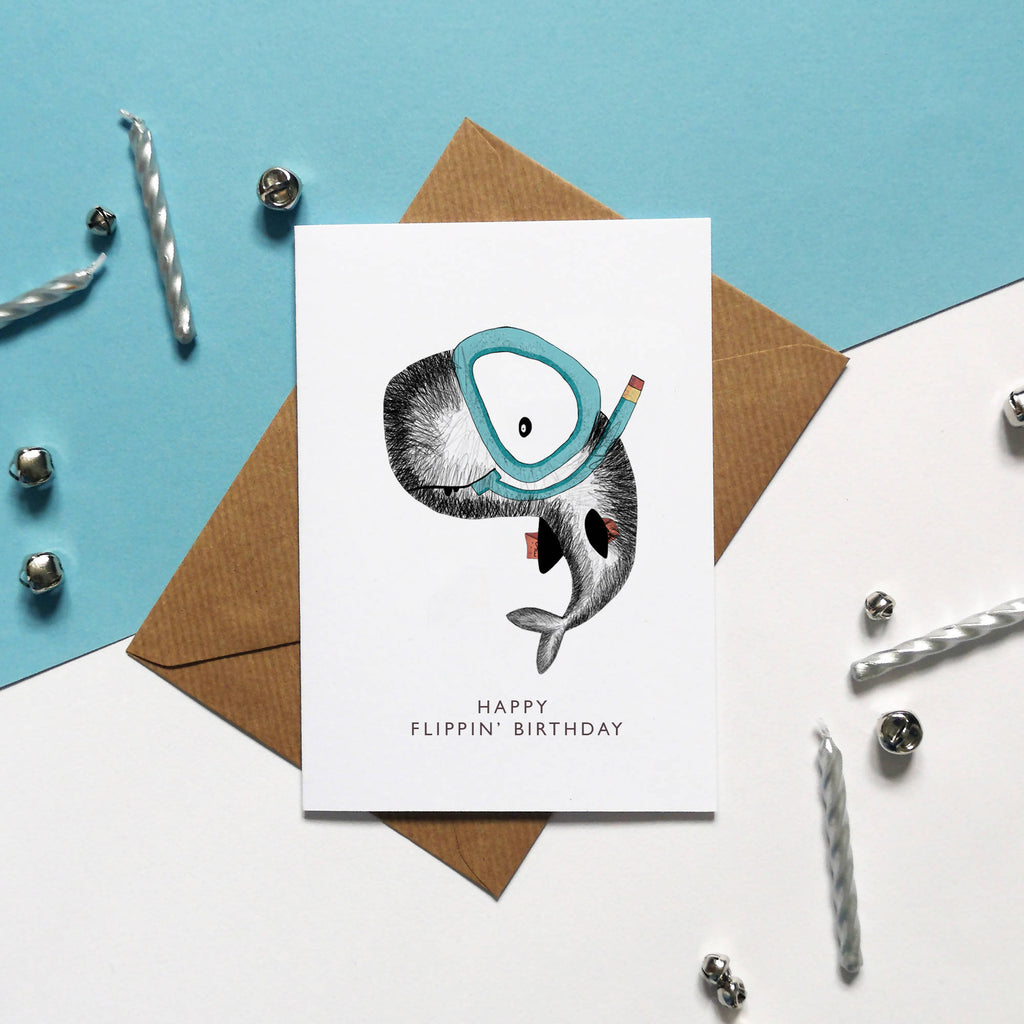 HAPPY FLIPPIN' BIRTHDAY, Snorkelling Whale Illustrated Birthday Card, Birthday Greeting Card, All I Want For My Birthday, Happy Birthday