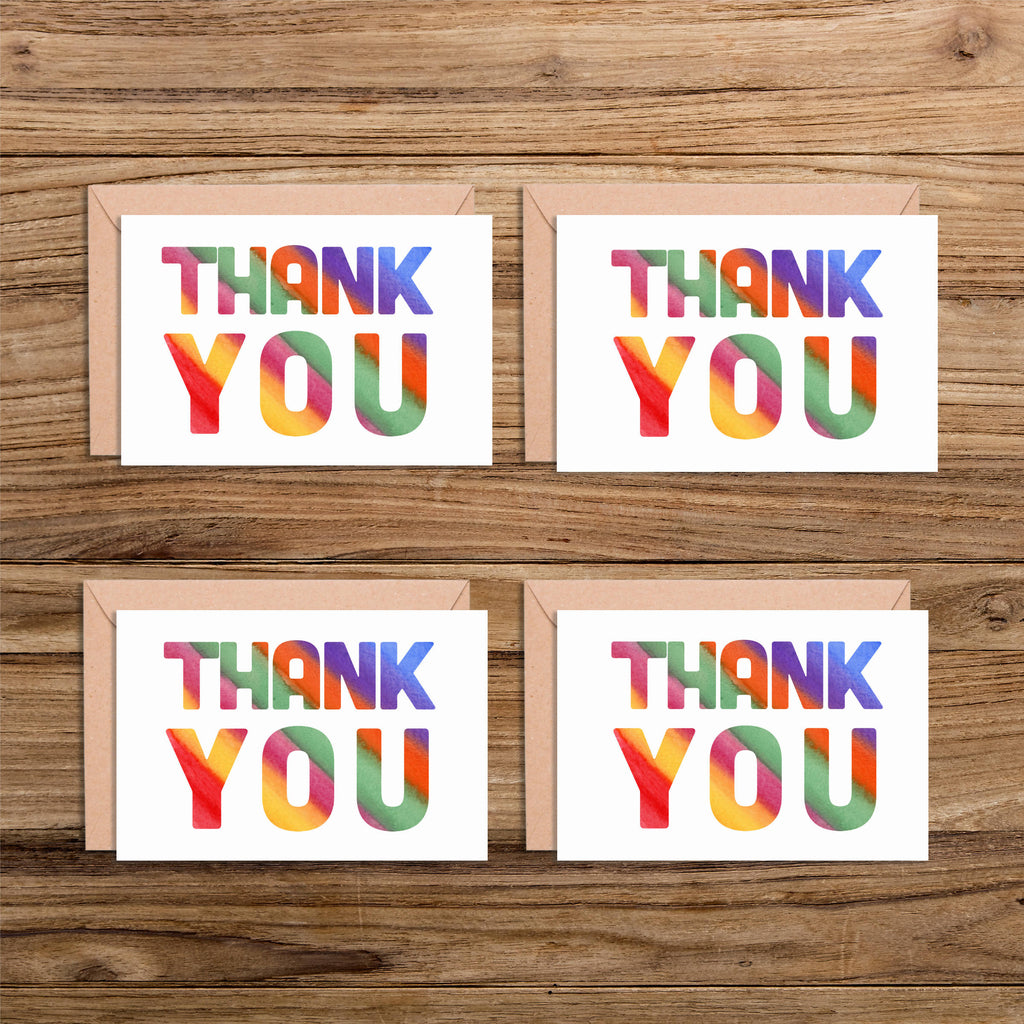 Multicoloured A6 Thank You Card Packs