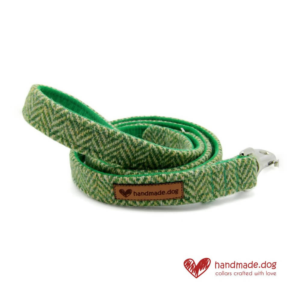 Green Herringbone 'Harris Tweed' Dog Lead